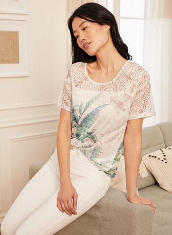 Tropical Print T-Shirt, Green,  Sprint Summer 2021, tee, t-shirt, short sleeve, crew neck, round neck, slub, slub placement, tropical print, palm print
