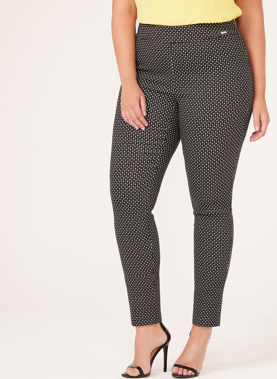 City Fit Jacquard Print Pull-On Slim Leg Pants, Black, hi-res
