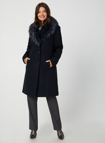 Wool-Blend Coat, Blue,  coat, winter coat, faux fur coat, faux fur, faux wool, faux wool coat, fall 2019, winter 2019