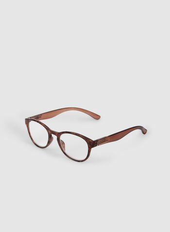 Textured Oval Eyeglasses, Brown,  glasses, oval glasses, retro, fall 2019, winter 2019