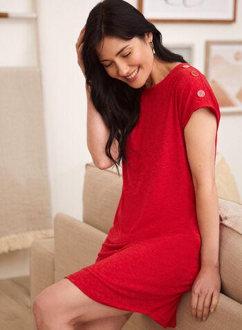Robe à détails boutons, Rouge,  Fait au Canada, printemps été 2021, robe, courte, confortable, boutons, manches courtes