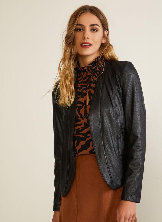 Metallic Detail Faux Suede Jacket, Black