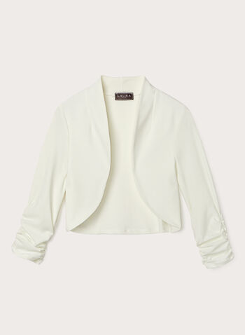 Shirred Sleeve Open Front Bolero, Off White, hi-res