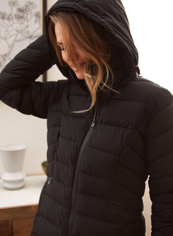 Recycled Stretch Vegan Down Coat, Black,  fall winter 2021, jacket, coat, outerwear, repreve, faux down, fake down, vegan down, recycled, stand neck, detachable hood, zipper, pockets, quilted, chevron, fabric, stretch, insulation, waterproof