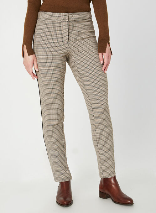 Houndstooth Print Ankle Pants, Brown
