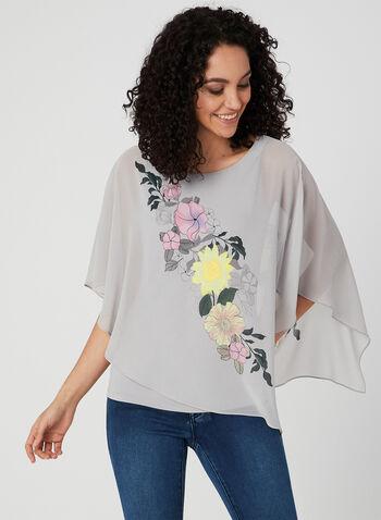 Blouse poncho à imprimé floral, Gris, hi-res,  printemps 2019
