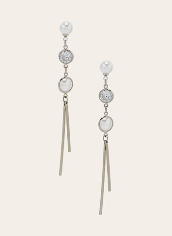 Three Tiered Dangle Earrings, Silver, hi-res