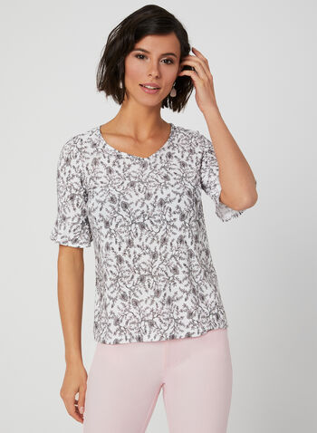 Floral Print Top, White,  Spring 2019, floral print, elbow sleeves