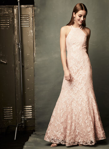Glitter Lace Mermaid Dress, Pink, hi-res