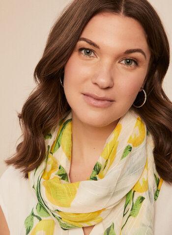 Foulard à motif citrons , Jaune,  printemps été 2021, accessoires, foulard, motif, citron, rectangulaire