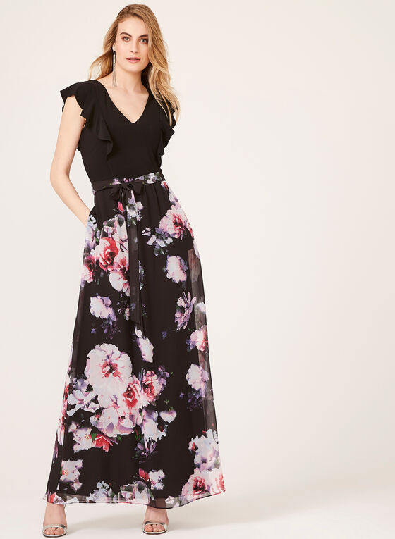 Ruffled Bodice Maxi Dress, Black, hi-res