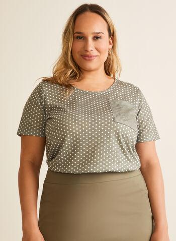 Polka Dot Print T-Shirt, Green,  t-shirt, polka dot, short sleeves, patch pocket, jersey, scoop neck, spring summer 2020