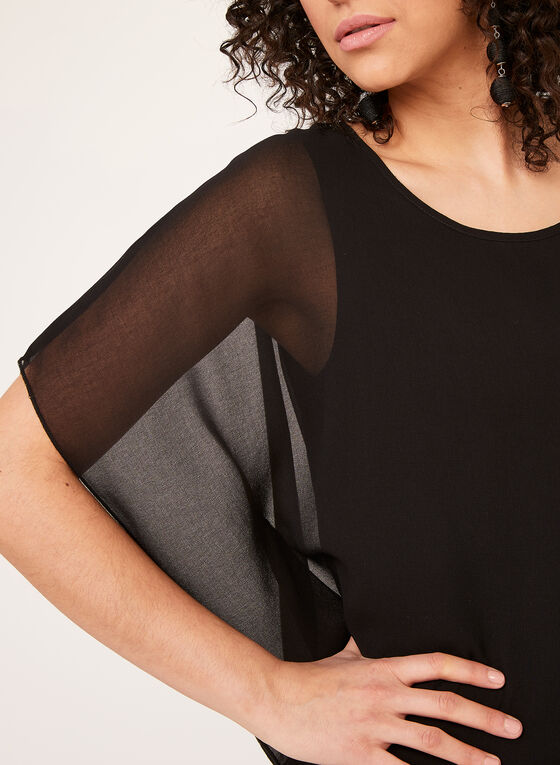 Chiffon Poncho Dress, Black, hi-res