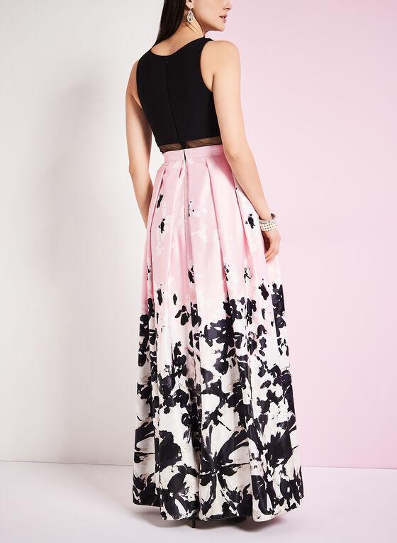 Floral Print Popover A-Line Gown , Black, hi-res