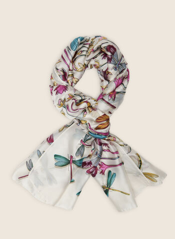 Dragonfly Print Scarf , Multi,  scarf, dragonfly print, oblong, oblong scarf, spring 2020, summer 2020