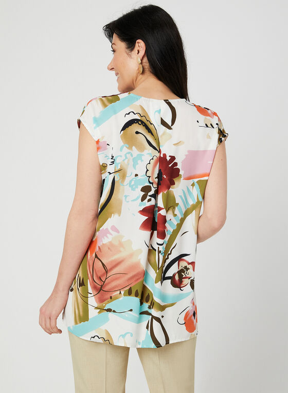 Abstract Floral Print Blouse, White