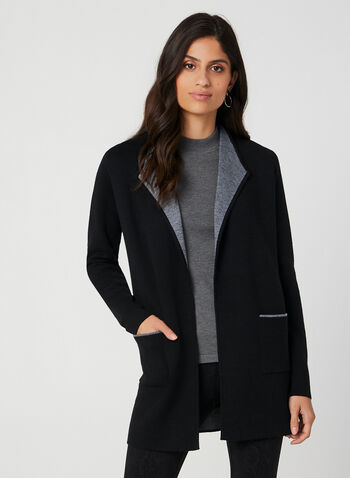Long Two Tone Cardigan, Black,  long sleeves, contrast trim, wool, pockets, fall 2019, winter 2019