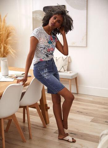 Floral Embroidered Denim Shorts, Blue,  spring summer 2021, shorts, denim, jeans, straight leg, zipper, button, pockets, embroidery, embroidered, flower, floral, capris