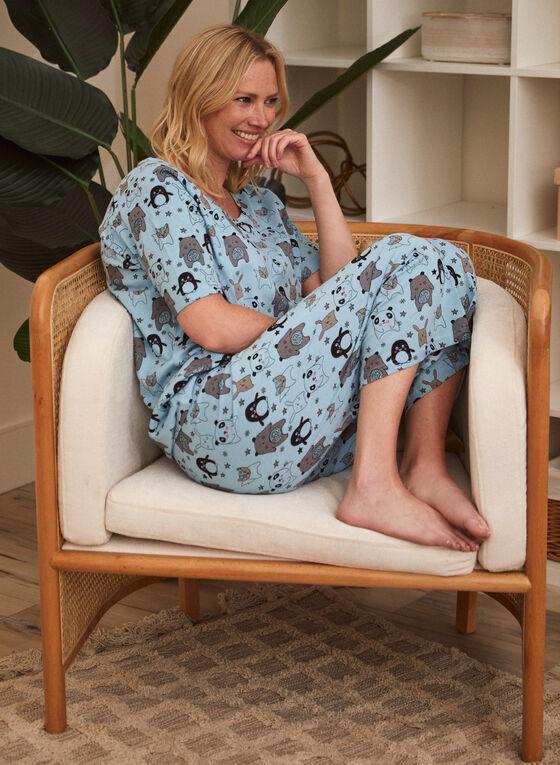 Animal Print Pyjama Set, Blue