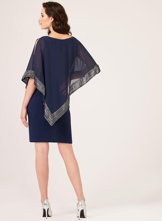 Robe poncho avec ourlet métallisé, Bleu, hi-res