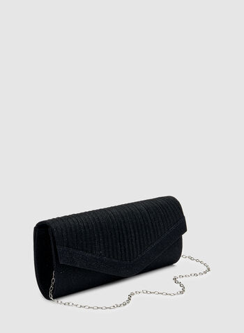 Pleated Envelope Clutch, Blue,  glitter, envelope, flapover, compact, fall 2019, winter 2019