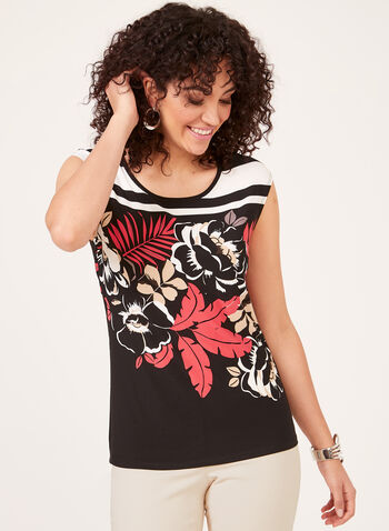 Floral Print Cap Sleeve Blouse, Black, hi-res