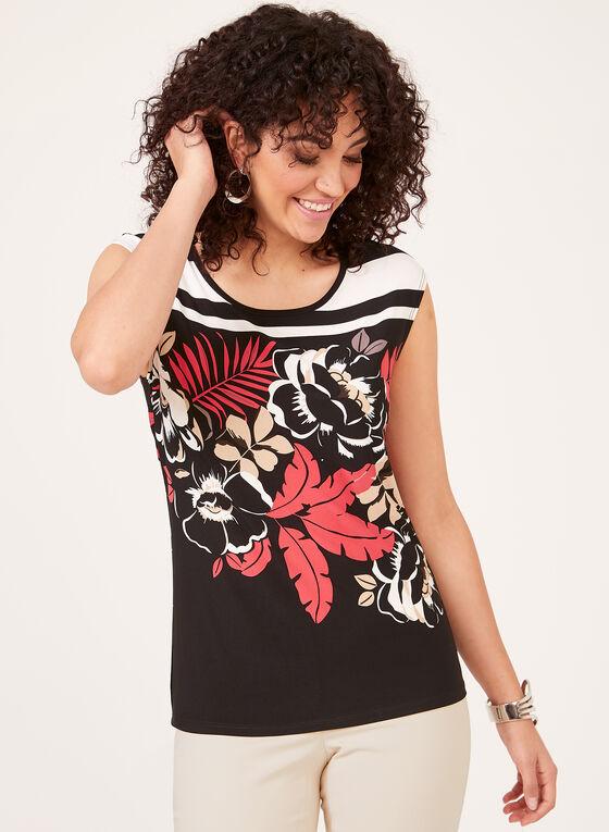 Blouse à mancherons à motif fleurs et rayures, Noir, hi-res