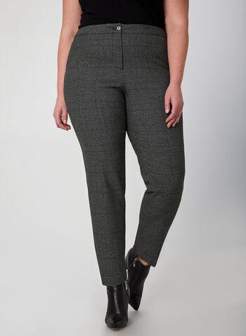 Pantalon jambe droite à carreaux, Noir,  coupe moderne, imprimé, motif, motifs, automne hiver 2019