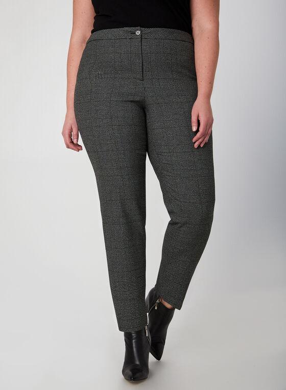 Pantalon jambe droite à carreaux, Noir