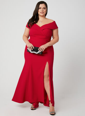 Sweetheart Neck Crepe Dress, Red, hi-res