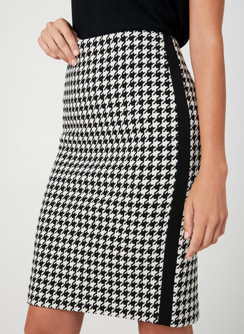 Houndstooth Pencil Skirt, Black,  fall winter 2019, houndstooth, knit fabric, pencil skirt,