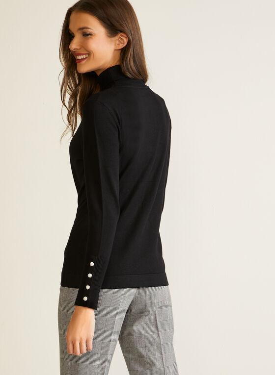 Turtleneck Sweater With Buttons, Black