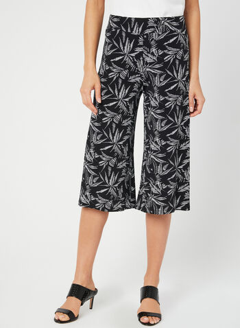 Palm Print Pull-On Culotte, Black, hi-res,  wide leg, jersey, spring 2019