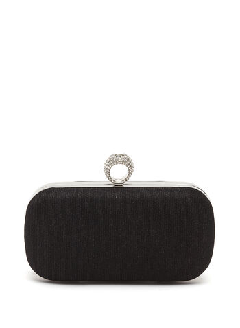 Crystal Ring Embellished Box Clutch, , hi-res