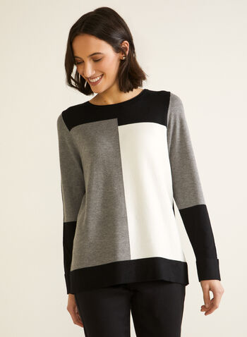 Colour Block Sweater, Black,  fall winter 2020, sweater, pullover, scoop neck, long sleeve, colour block, contrast, pattern, comfort, stretch, warm