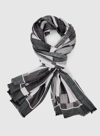 Geometric Print Scarf, Grey, hi-res