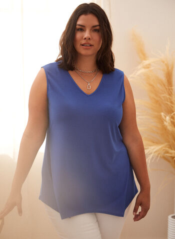 Sleeveless Asymmetric Top, Blue,  spring summer 2021, made in Canada, V neck, sleeveless, asymmetric hem, asymmetric, asymmetrical, sharkbite hem, light, stretch, cami, tank, top, blouse