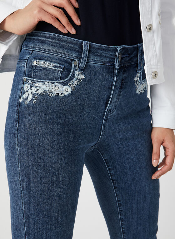 Embroidered Denim Capri Pants, Blue, hi-res