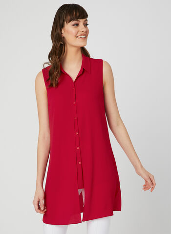 Sleeveless Button Up Tunic, Red, hi-res