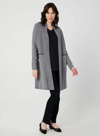 Cardigan ouvert à liseré contrastant, Gris,  texturé, poches, manches longues, tricot, automne hiver 2019