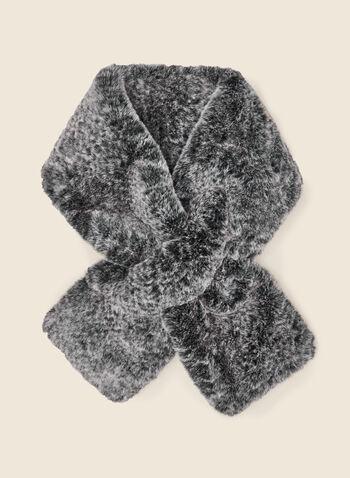 Col-écharpe en fausse fourrure, Gris,  foulard, écharpe, col, hiver, motif, animal, automne hiver 2020