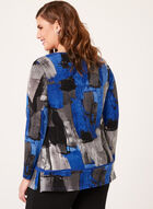 Tunique manches longues à motif abstrait, Bleu, hi-res