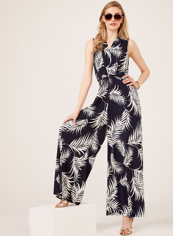 Jessica Howard - Faux Wrap Wide Leg Jumpsuit, Blue, hi-res