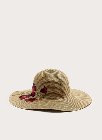 Chapeau capeline avec broderies florales, Blanc cassé, hi-res