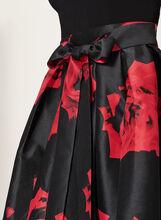 Robe à col licou et jupe motif rose, Noir, hi-res