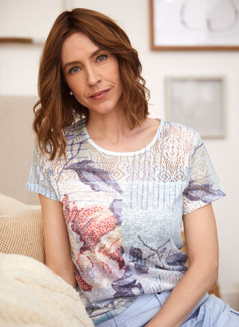 Mixed Print Cap Sleeve Tee, Blue,  top, tee, t-shirt, cap sleeves, round neck scoop neck, floral print, burnout, mixed print, lace, spring summer 2020