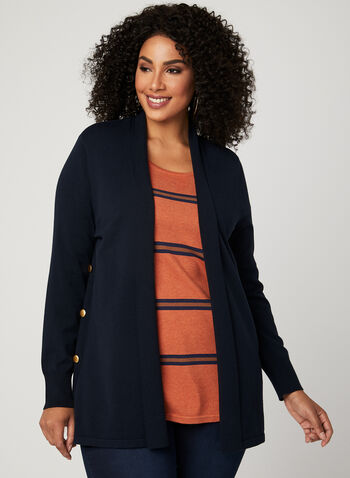 Open Front Shawl Cardigan , Blue, hi-res