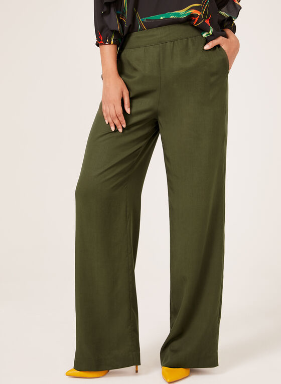 Pull-On Wide Leg Pants, Green, hi-res