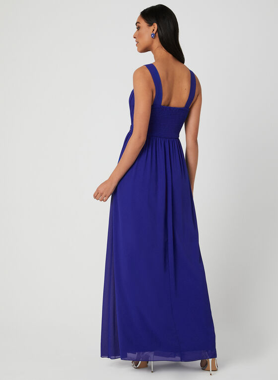 Beaded Empire Waist Gown, Blue, hi-res