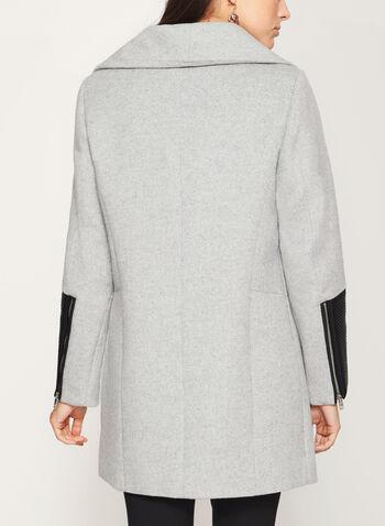 Marcona - Manteau sergé avec détails en similicuir et zips, , hi-res